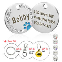 Engraved Dog Tags Disc Disk Cute Paw Rhinestone Personalised Cat Pet ID Name Tag