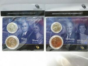 4 Different Presidential $1Coin and 1st Spouse Medal Sets, SEE BELOW #1