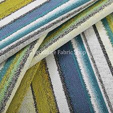 White Green Blue Designer Striped Soft Texture Chenille Woven Upholstery Fabrics