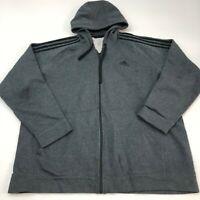 Adidas Full Zip Hoodie Mens XXL Gray Long Sleeve Casual