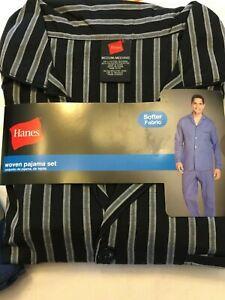 NWT Men's Hanes Woven Pant Shirt Set Pajamas PJ Cotton Blend Blue Stripe Various