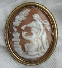Very Large ANTIQUE Victorian Pinchbeck Hand CARVED Classical Shell CAMEO Brooch