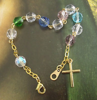 New GP Crystal Bead Religious Catholic Rosary Bracelet w Cross