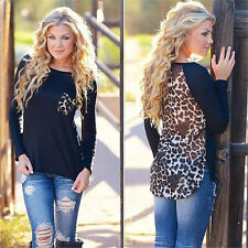 Plus Size Fashion Womens Leopard Blouse Top Long Sleeve Ladies Tops Tee T-shirt 16 Black
