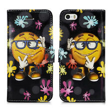 Leather Wallet Flip Book Phone Card Holder Pouch Fone Case for Apple iPhone 5 5g Painting a Smile - Shades Cool Colourful Grin