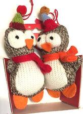 "Holiday Knit Owl Ornaments Set of 2 w Gift Box ""Guess Who-hooo Loves Ya"" NWT"
