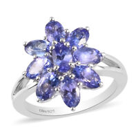 925 Sterling Silver Platinum Over Blue Tanzanite Flower Ring Gift Size 6 Ct 2.1