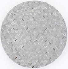 Grey Contemporary Cowhide Patchwork 8X8 Handcrafted Modern Oriental Round Rug