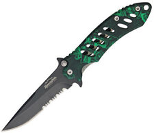 "Remington F.A.S.T 5"" Zombie Hunter Green ComboEdge Flipper Folding Pocket Knife"