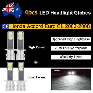 For Honda Accord Euro CL 2004 2005 4x Headlight Globes High Low beam LED bulb A1