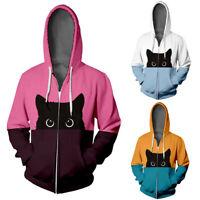 Men Women Lover Cat Print Hoodie Hooded Sweatshirt Jacket Jumper Coat Tops US