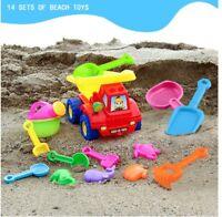 14pcs Sand Beach Toy Kids Garden Sandpit Toy with Bucket, Truck, Rake & More