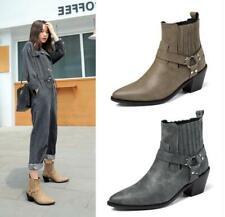Women's Chic Buckle Strap Elastic Top Block Heel Western Cowboy Boots Shoes QCQE