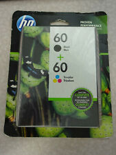 GENUINE NEW HP 60 Black and Tri-Color Ink Cartridge 2-Pack EXP 02/2021 or later