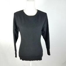 Charter Club 100% Cashmere Sweater Dolman Sleeve Black Crew Neck Size Petite