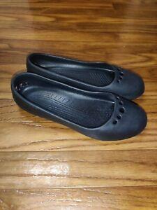 CROCS Ballet Flat Prima Black Comfort Slip On Shoe Women's Size 8