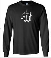 Arabic Symbol Allah Black White Long Sleeve T-Shirt God Muslim Islam Shirt S-5XL