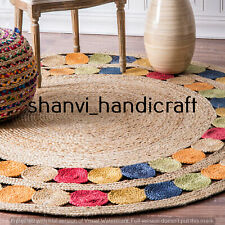 6 Feet Jute Rug Area Rugs Carpet Mats Handmade Braided Round Black Color Natural