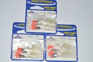 3 packs blakemore road runner 1/16oz flo red head white crappie thunder jig