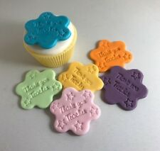 12 Edible Sugarpaste THANK YOU TEACHER Cupcake Toppers-  BIRTHDAY
