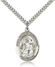 Sterling Silver Saint Gabriel the Archangel Pendant Medal, 1 Inch