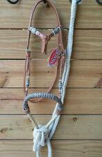 Light Futurity Knot Headstall Bitless Bridle Bosal Hackamore & Mecate Reins 3311