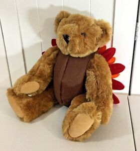 "Vermont Teddy Bear Turkey Plush 16"" Tall Fully Jointed HTF Fall Thanksgiving"
