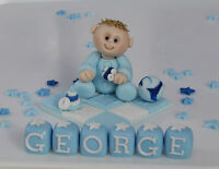 EDIBLE  CHRISTENING  BABY ON  BLANKET CROSS   CAKE TOPPER DECORATION BOY GIRL