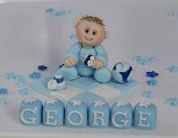 EDIBLE  CHRISTENING  BABY ON  BLANKET CROSS   CAKE TOPPER DECORATION BOY GIRL