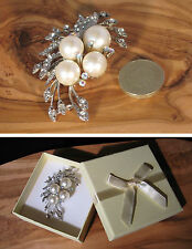 Large white faux pearl and diamond brooch great for bridal or wedding - gift box