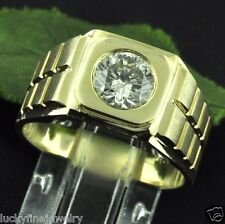 1.04 ct 14k Solid Yellow Gold men's Natural Diamond Solitaire Ring Burnish set