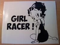 Betty Boop girl racer girls vinyl car sticker novelty funny rear bumper window