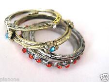Vintage Design Antiqued Rhinestone Stacked Ring Set Hammered Gold & Silvertone