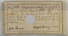 1789 CONNECTICUT INTEREST CERT 12/24/1789 ANDERSON CT-52 XF W/ MARGIN NICK