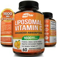 Liposomal Vitamin C 1600mg - High Absorption Vit C Pills 60 Capsules Supplements