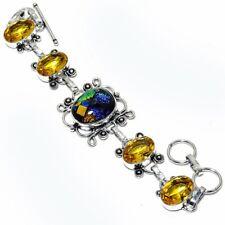 "Ethnic Jewelry Bracelet 7-8"" Zb-554 Dichroic Glass, Citrine Gemstone Handmade"