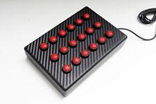BBJ Sim Racing PC USB 18 bouton à fonction boîte rouge/carbone vinyle Fascia