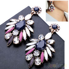 EG_ Womens Exquisite Charm Gem Flossy Crystal Statement Ear Studs Dangle _GG