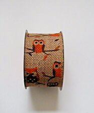 Owl Wired Burlap Ribbon Jute Mesh Roll Natural Color Fall Autumn 2.5 in x 15 ft