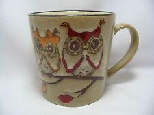 Adorable Owls Coffee Mug Cup 16 oz Stoneware Beige Cute New