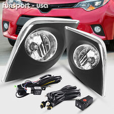 for 2014-2016 TOYOTA COROLLA CE L LE CLEAR BUMPER FOG LIGHTS LAMPS+SWITCH+WIRING