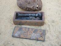 Rare Antique Ancient Egyptian Wood Ushabti Box 3 Ushabtis Servant Minions 2480BC
