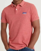 Superdry Premium Mens Classic Pique Polo Shirt, Downhill Red Grit Size 2XL