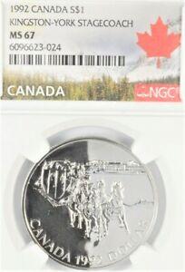 .925 Silver 1992 Canada Dollar Kingston-York Stagecoach Crown NGC MS 67 Gem BU+