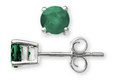 Emerald Stud White Gold Fine Earrings