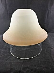 New Frosted Crackle Glass White to Brown Ombre Bell Lamp Shade Bell  (D)