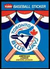 1989 Fleer Baseball Stickers Toronto Blue Jays