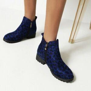 Bootie Zipper Riding Ankle Boots Low Heel Wide Women's Leopard Chelsea Plus Size