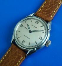Exquisite 1960s Vintage Mans Benrus Hand Wind,  Silver Tone Dial, WARRANTY