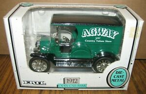 Ertl 1912 Ford Open Cab Car Truck AGWAY COUNTRY VALUES STORE Coin Bank Toy 1:25